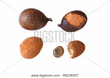 Stages Of Guapaque Fruit On White Background