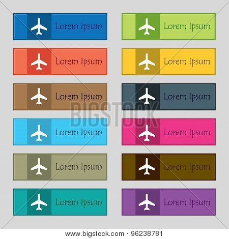 Airplane Icon Sign. Set Of Twelve Rectangular, Colorful, Beautiful, High-quality Buttons For The Sit