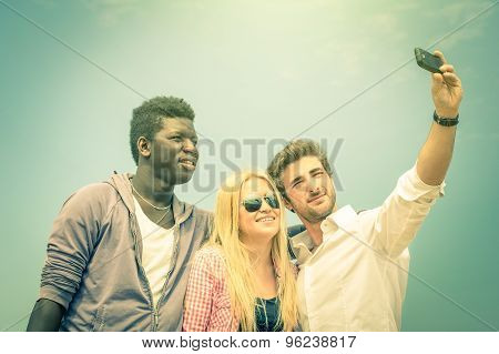 Group Of Multiracial Happy Best Friends Taking A Selfie Outdoors - International Happiness Concept