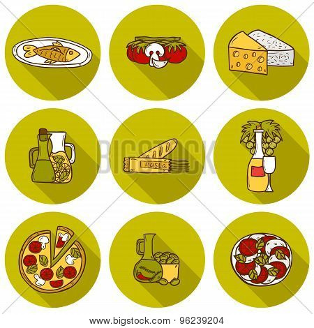 Set of cute hand drawn cartoon shadow objects on mediterranean cuisine theme: tomato, pasta, wine, c