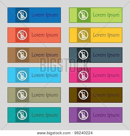 Mobile Phone Is Prohibited Icon Sign. Set Of Twelve Rectangular, Colorful, Beautiful, High-quality B