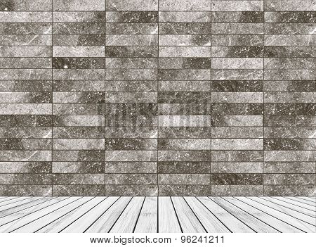 Backdrop stone wall and wood slabs arranged in perspective texture background