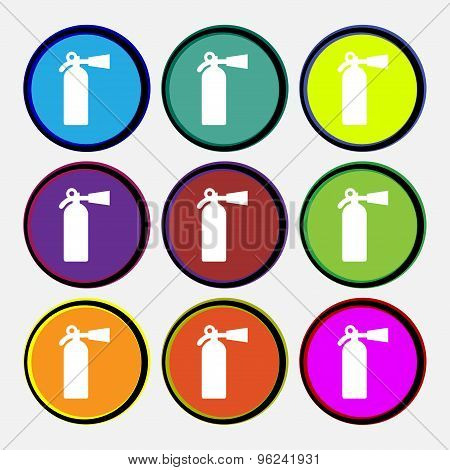 Extinguisher Icon Sign. Nine Multi Colored Round Buttons. Vector