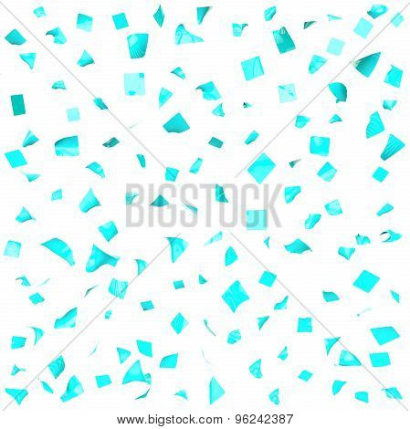 Background Of Blue Shiny Pieces Of Paper