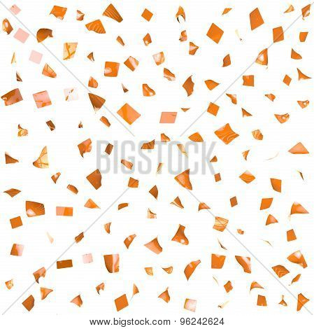 Background Of Orange Shiny Pieces Of Paper