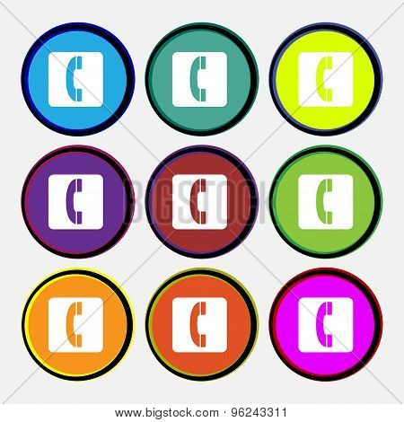 Handset Icon Sign. Nine Multi Colored Round Buttons. Vector