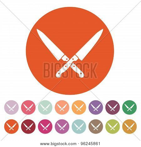 The crossed knives icon. Knife and chef, kitchen symbol. Flat