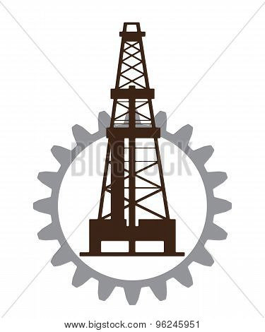 Silhouette of oil drilling in gear.