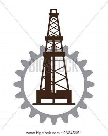 Silhouette of oil drilling in gear.