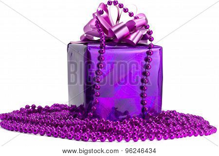 Violet Gift With An Ornament On A White Background