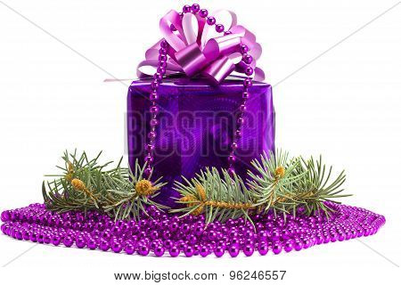Violet Gift With An Ornament And A Fur-tree