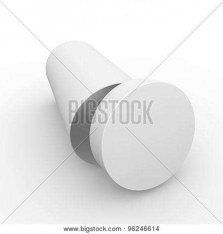 Empty White Cylindrical Box