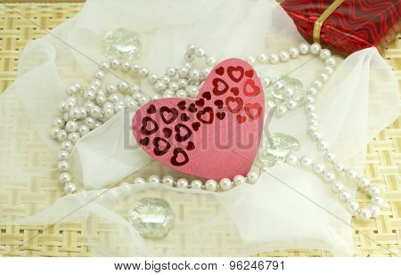 Hearts, Pebbles, Woven Cloth On Wood