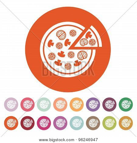 The pizza icon. Pizzeria and baking, fast food symbol. Flat