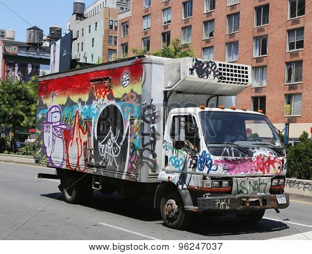 Truck covered with graffiti in Lower Manhattan
