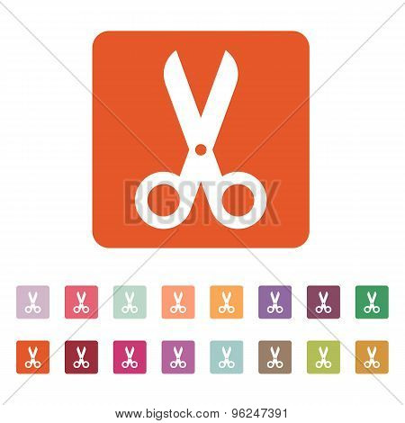The scissors icon. Shears and clippers, cut off symbol. Flat