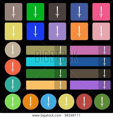The Sword Icon Sign. Set From Twenty Seven Multicolored Flat Buttons. Vector