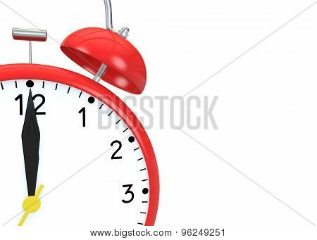 Red Alarm Clock On An Isolated Background