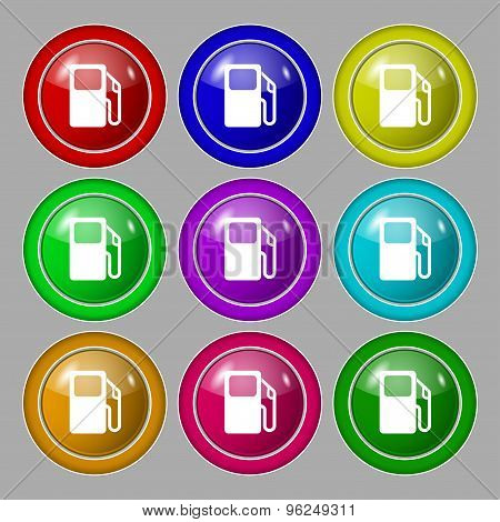 Auto Gas Station Icon Sign. Symbol On Nine Round Colourful Buttons. Vector