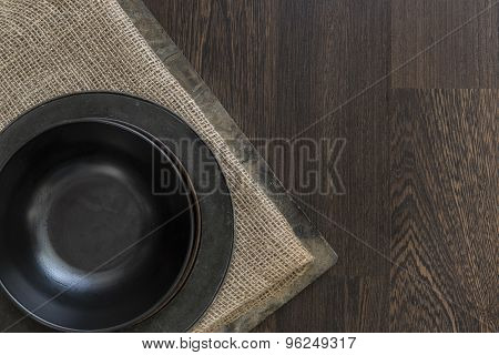 Vintage Crockery Bowls On Rustic Vintage Wooden Background