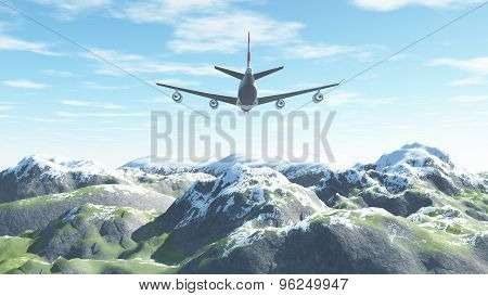 The Plane Flies Over The Snow-capped Mountains