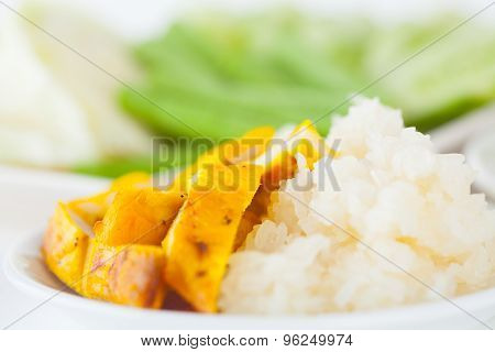Grilled chicken and sticky rice