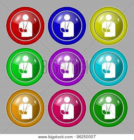 Broken Arm, Disability Icon Sign. Symbol On Nine Round Colourful Buttons. Vector