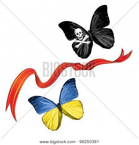 Two butterflies with symbols of Ukraine and Pirates