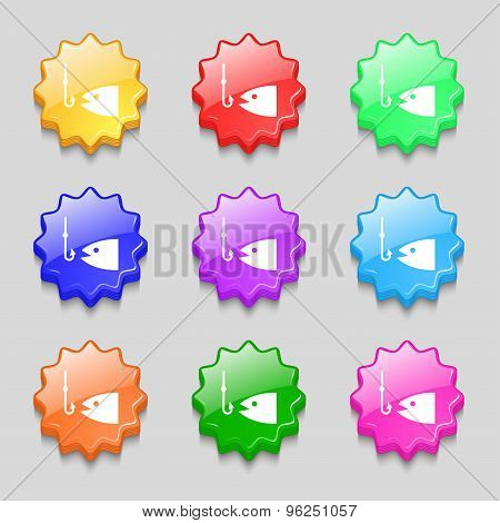 Fishing Icon Sign. Symbol On Nine Wavy Colourful Buttons. Vector