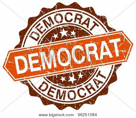 Democrat Orange Round Grunge Stamp On White