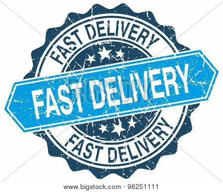 Fast Delivery Blue Round Grunge Stamp On White