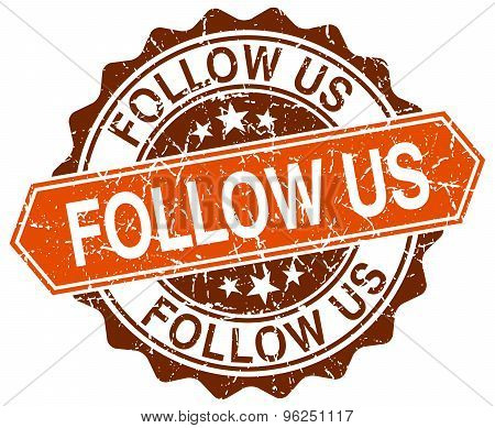 Follow Us Orange Round Grunge Stamp On White