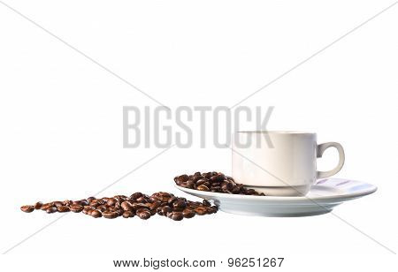 White Cup Of Coffee And Beans On White Background