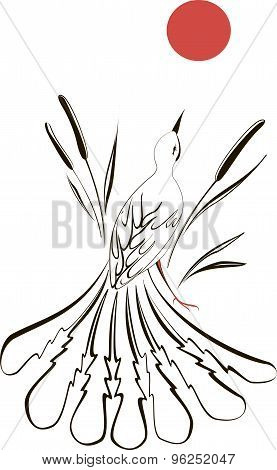 Bird looking at the moon in the reeds. EPS10 vector illustration