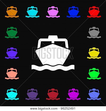 The Boat Iconi Sign. Lots Of Colorful Symbols For Your Design. Vector