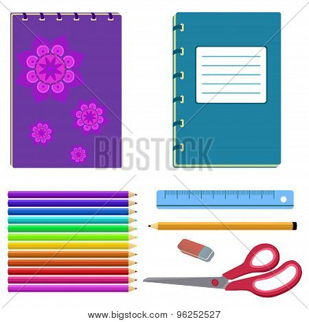 school stationery - notebook, eraser, pencil, ruler, scissors