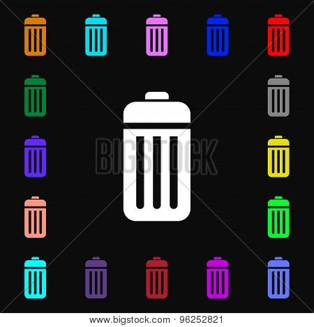 The Trash Iconi Sign. Lots Of Colorful Symbols For Your Design. Vector