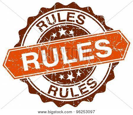 Rules Orange Round Grunge Stamp On White
