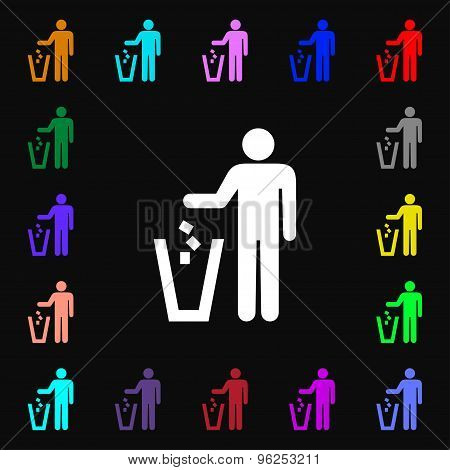 Throw Away The Trash Iconi Sign. Lots Of Colorful Symbols For Your Design. Vector