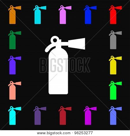Extinguisher Iconi Sign. Lots Of Colorful Symbols For Your Design. Vector