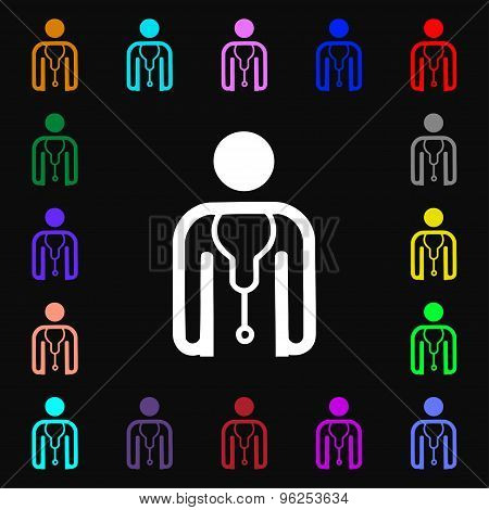 Doctor Icon Sign. Lots Of Colorful Symbols For Your Design. Vector