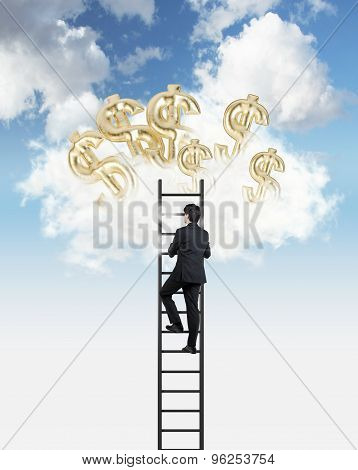 Businessman Is Climbing To The Clouds To Get Air Balloons In A Form Of Golden Dollar Signs.