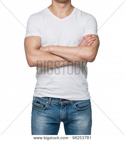 Front View Of A Person In A White V Shape T-shirt With Crossed Hands. Isolated.