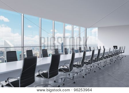 Panoramic Conference Room In Modern Office, New York City View. Black Leather Chairs And A Long Whit