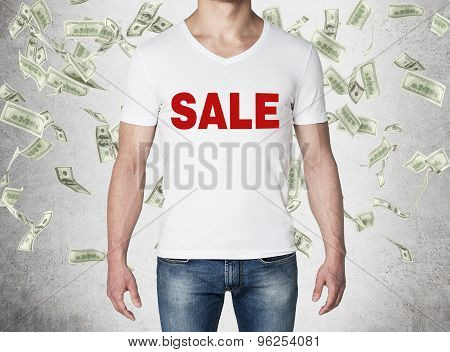 Close Up Of The Body View Of The Man In A White T-shirt With The Red Word ' Sale ' On The Chest. Con