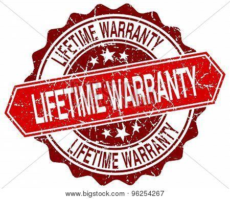 Lifetime Warranty Red Round Grunge Stamp On White