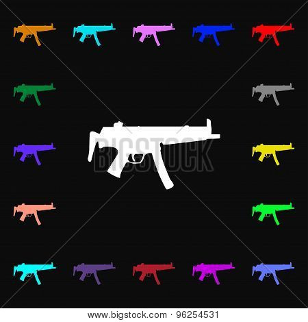 Machine Gun Iconi Sign. Lots Of Colorful Symbols For Your Design. Vector