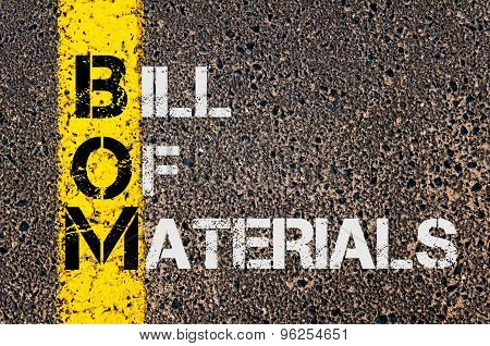 Business Acronym Bom As Bill Of Materials