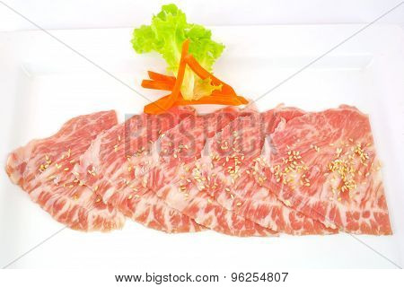 High Grade Sliced Hida Wagyu Beef Isolated On White Background