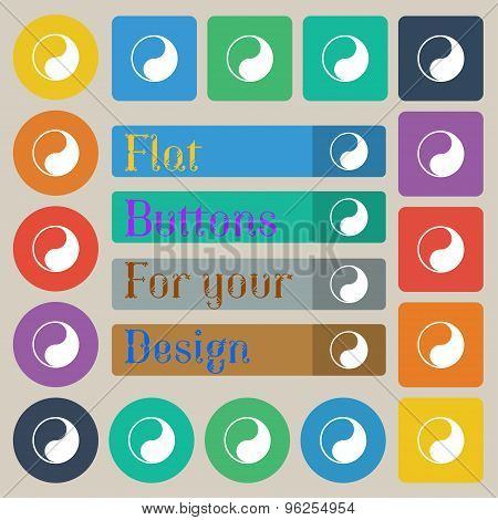 Yin Yang Icon Sign. Set Of Twenty Colored Flat, Round, Square And Rectangular Buttons. Vector